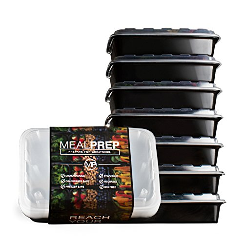 Meal Prep Containers - Stackable Plastic Microwavable Dishwasher Safe Reusable - 28 Oz - (Set of Seven)