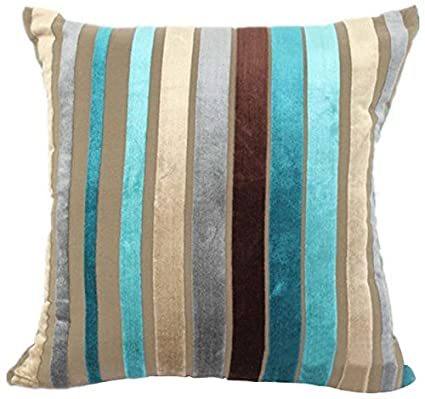 Eazyhurry Velvet Stylish Striped Soft Cushion Cover with Invisible Zipper Vintage European Standard Size Cushion Sham Decorative Body Cushion Protector Pillow Case Green 28 X 28 WXUS-07-1027673739-012-7070