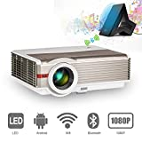 Projector Bluetooth WiFi 4200 Lumen LCD LED Smart Video Projector 1280x800 Native Support 1080P Full HD, Android 6.0 OS Compatible with Airplay HDMI PC DVD Fire Stick Bluetooth Speakers Wii Xbox Roku