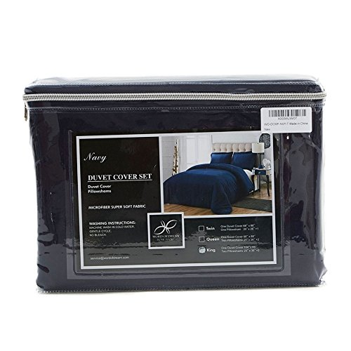 Word of Dream Brushed Microfiber Duvet Cover Set - Lightweight and Soft - Full/Queen, Navy