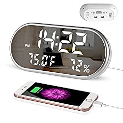 Digital Alarm Clock, Portable Mirror HD LED Display with Time/Humidity/Temperature/Display Function, 3 Brightness Adjustment, Dual USB Port Charging, Suitable for Bedroom, Office, Travel