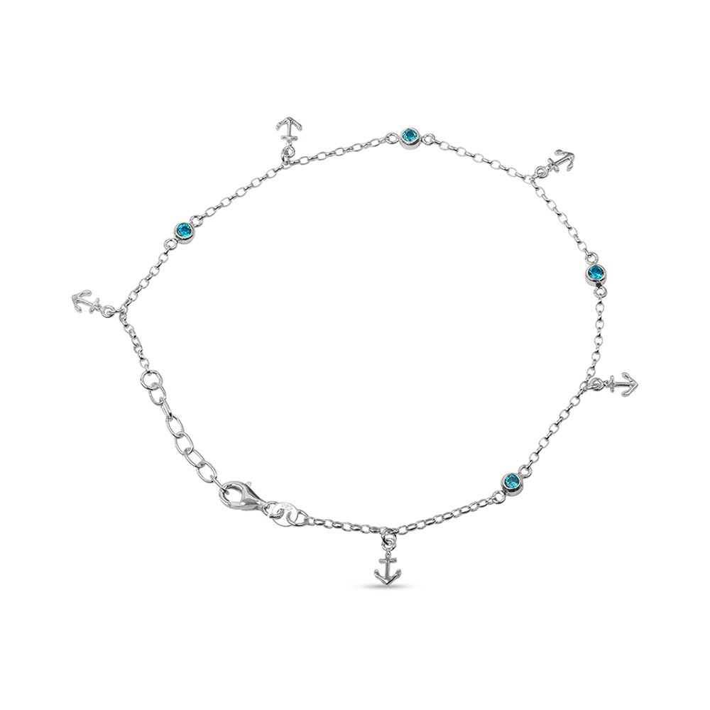 LeCalla Women's Sterling Silver Jewelry Anchor Charm Anklet with Beads