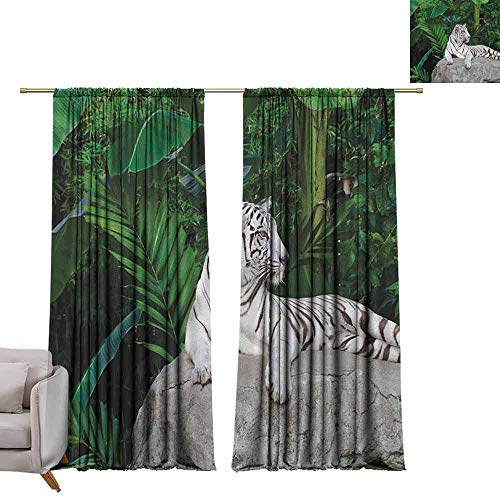 berrly Tie Up Shades Rod Blackout Curtains Safari,White Tiger Setting on Stone Tropic Plants Leaves Wild Jungle Majestic, Beige Green Pale Grey W72 x L84 Adjustable Tie Up Shade Rod Pocket Curtain