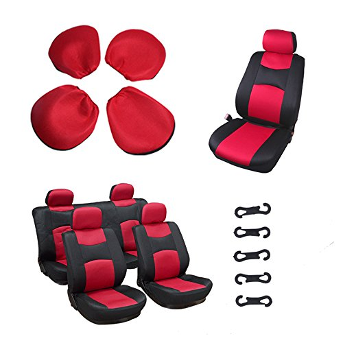 (OCPTY Car Seat Cover, Stretchy Universal Seat Cushion w/Headrest 100% Breathable Automotive Accessories Durable Washable Mesh Cloth for Most Cars(Red/Black))