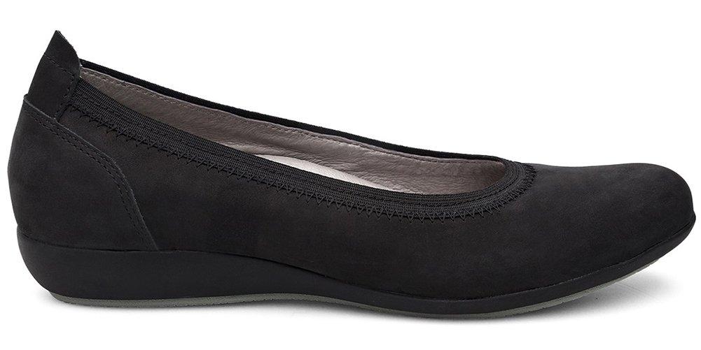 Dansko Women's, Kristen Slip on Flats B078J3R94J 37 M EU|Black Milled Nubuck