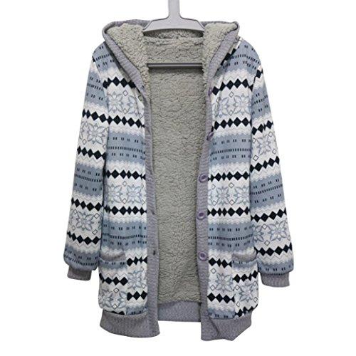 AMA(TM) Women Cotton Winter Warm Hooded Thick Jacket Coat Outwear Cardigan (Large, Blue)