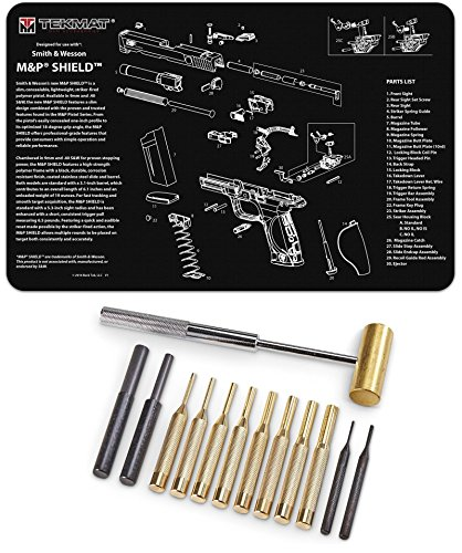 Ultimate Arms Gear Smith & Wesson S&W M&P SHIELD Gunsmith & Armorer's Cleaning Work Tool Bench Pistol Handgun Gun Mat + Brass Hammer and Steel, Nylon & Brass Punch Set with Storage Case - Gunsmith Wesson