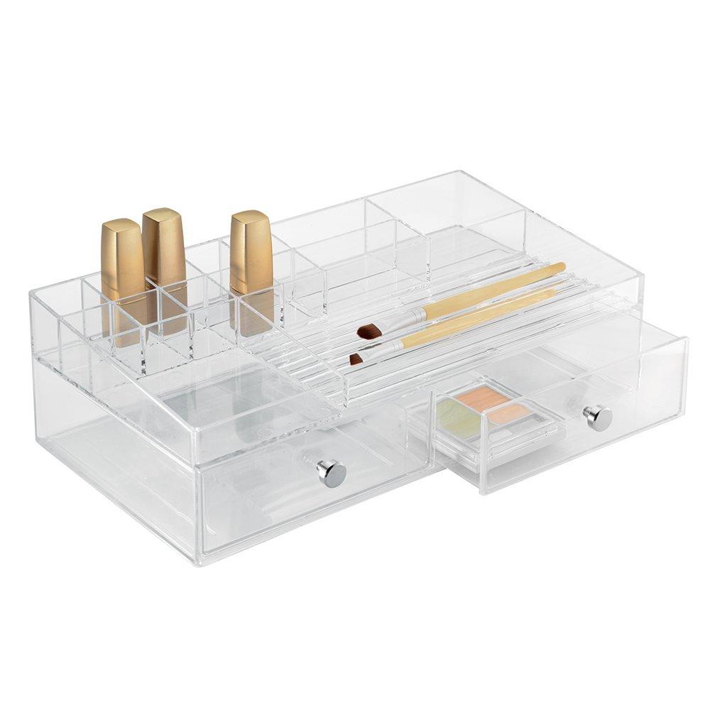 kunststoff iDesign 37460EU Clarity Kosmetik-Organizer mit 2 Schubladen 32,5 x 10,2 x 17,8 cm durchsichtig