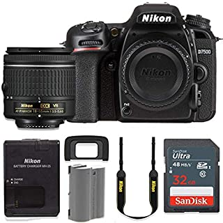 Nikon D7500 20.9MP DSLR Camera with AF-P 18-55mm VR Lens Kit + 32 GB Sandisk Memory Card (Renewed)