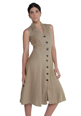 59bd46c73d08 Claudio Milano Women's 100% Linen Dress with Wooden Button and Moa Collar  at Amazon Women's Clothing store: