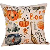 Throw Pillowcase, Yezijin Halloween Pillow Cases Linen Sofa Pumpkin Ghosts Cushion Cover Home Style Home Decorative 18 X 18 (F)
