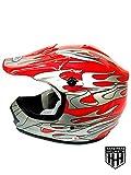 SmartDealsNow DOT Youth & Kids Helmet for Dirtbike ATV Motocross MX Offroad Motorcyle Street bike Flat Matte Black Helmet (Large, Red Flame)