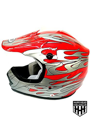 SmartDealsNow DOT Youth & Kids Helmet for Dirtbike ATV Motocross MX Offroad Motorcyle Street bike Flat Matte Black Helmet (Large, Red Flame)