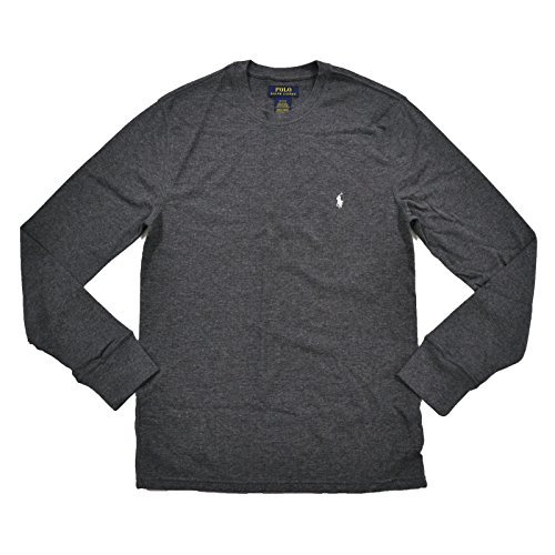 Polo Ralph Lauren Mens Thermal Long Sleeve Sleep Shirt (L, Dark Gray)