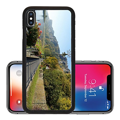 Liili Premium Apple iPhone X Aluminum Backplate Bumper Snap Case Promenade in Saxon Switzerland along the Elbe in Germany colorful flower boxes autumn forests and the craggy rocks of the - Stores The Promenade In