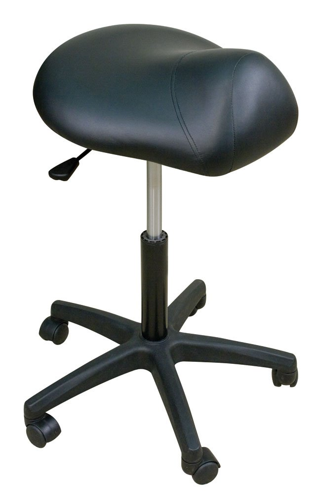 Oakworks Premium Stool with Saddle Seat Low, Espresso Upholstery by Oakworks