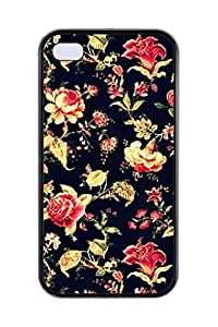 New Hipster Vintage Design Generic Personalized Romantic Elegant Vintage Floral Rose Soft TPU Smartphone Skin Cover Art Print Cellphone Case Cellphone Accessories Fits For iPhone 4,4S(Choose from Black and White)