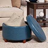 Oval Leather Ottoman Coffee Table Care 4 Home LLC Oval Faux Leather Storage Ottoman, Durable Wood Frame, Lift Off Lid, Space Saving Design, Functional, Suitable For Living Room, Bedroom, Coffee Table, Teal Finish + Expert Guide