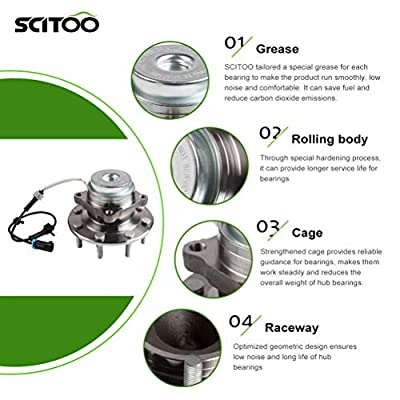 SCITOO Compatible with Both(2) 515060 Front Wheel Hub Bearing Assembly fit 2003-2008 Chevy GMC 8 Lugs W/ABS: Automotive