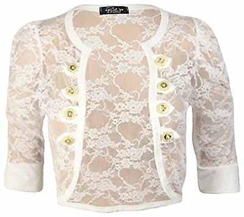 Cima Mode's Womens Lace Ruched Sleeve Bolero Cardigan Military Style Button Shrug Top, 10/12, Cream