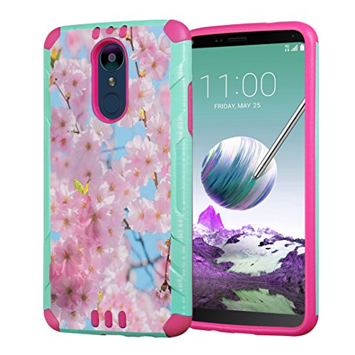Moriko Case Compatible with LG Stylo 4 Plus, LG Stylo 4, LG Q Stylus [Heavy Duty Armor Drop Protection Dual Layer Shockproof Case Mint Pink] for LG Stylo 4 - (Cherry Blossom Pink)