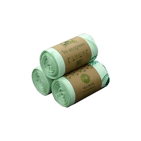Bolsas de basura biodegradables 100 % IM ECOGREEN, 7 - 8 litros, 150 unidades, extragruesas, biodegradables y compostables, con certificado TUV Home ...
