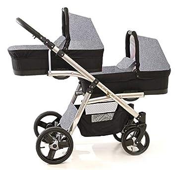 Carro gemelar 3en1. Completo: capazos, sillas, sillas de coche, accesorios. BBtwin. Negro+plateado: Amazon.es: Bebé