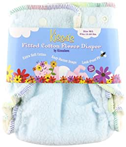 Kissa's Cotton Fleece Fitted Diaper, Sky Blue, 15 - 40 Pounds
