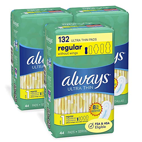Always Ultra Thin Pads for Women, Size 1 Regular Absorbency Without Wings Unscented, 44 Count – Pack of 3 (132 Count…