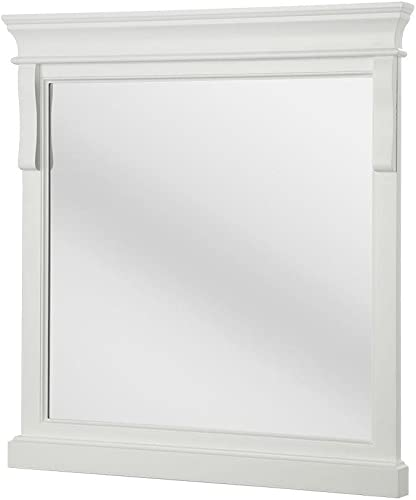 Foremost Naples 30 in. x 32 in. Framed Wall Mirror in White