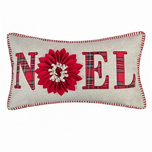 JWH Christmas Festival Accent Pillow Case Wool 3D Flowers Decorative Cushion Cover Handmade Applique Pillowcase Home Bed Living Room Sofa Car Bed Room Decor 14 x 24 Inch Noel Red Plaid