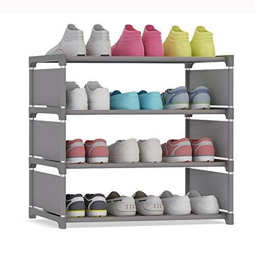 UDEAR 4-Tier Portable Shoe Tower Rack 12-Pair Storage Cabinet Organizer Shoes Shelf (Grey)