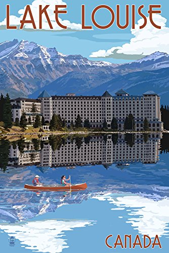 - Banff, Canada - Lake Louise (12x18 SIGNED Print Master Art Print w/Certificate of Authenticity - Wall Decor Travel Poster)