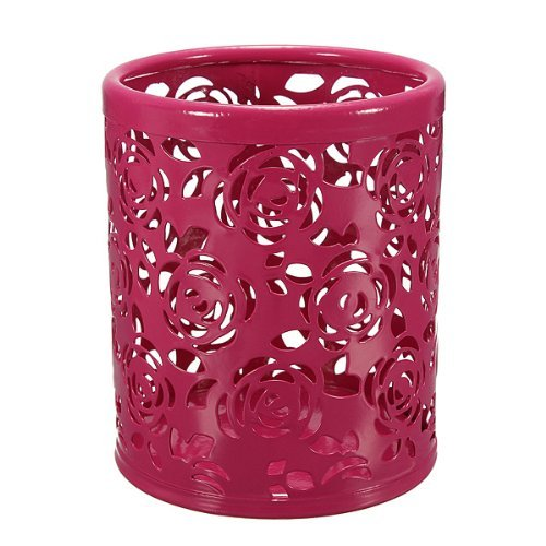 Kubert® Round Hollow Rose Flower Pattern Cylinder Pen Pencil Pot Holder Container Organizer ,Desktop Stationery Storage Box Collection, Business Card/Pen/Pencil/Mobile Phone /Remote Control Holder Desk Supplies Organizer (Red) (Pattern Flower Hollow)