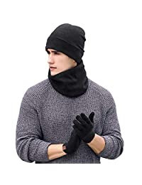 Aibrou Men Beanie Hat and Touch Screen Gloves and Scarf 3 Pieces Winter Hats Men