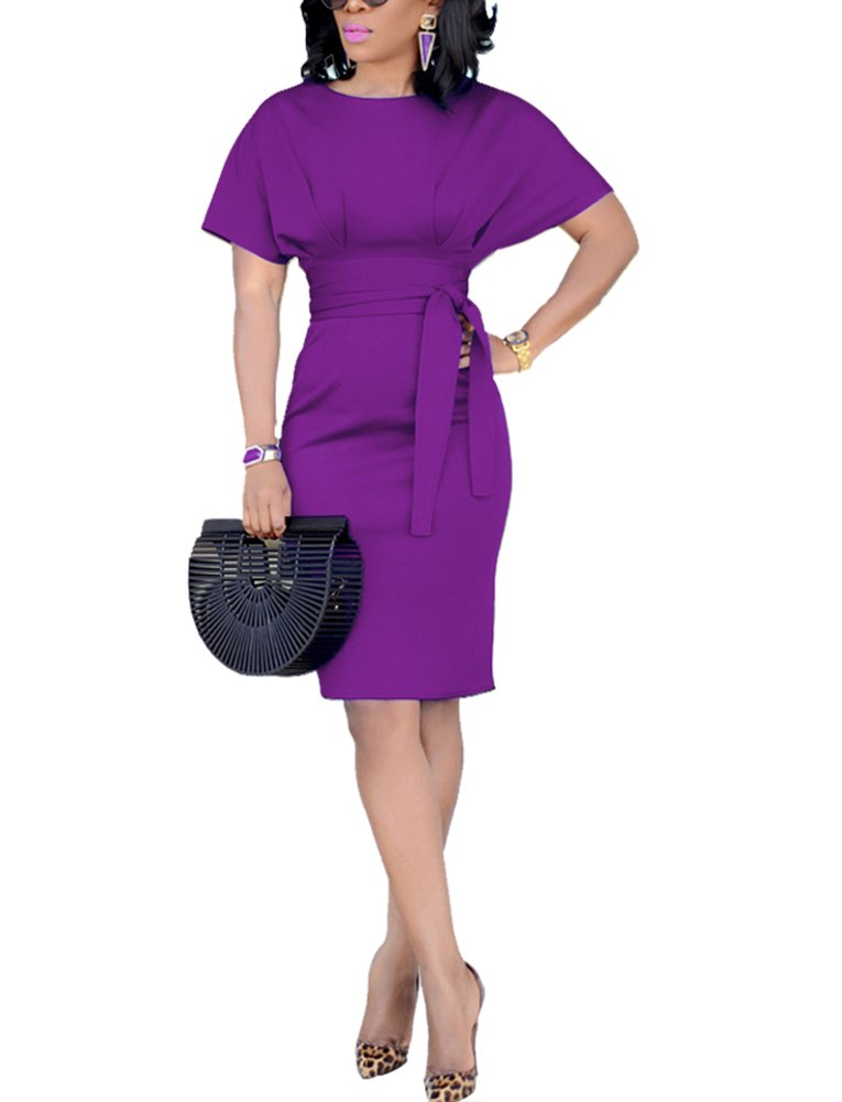 Women's Solid Ruched Business Dress Batwing Sleeve Round Neck Belted Knee-Length Dress XX-Large Purple