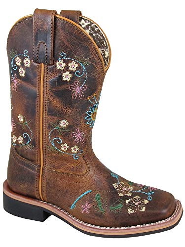 Smoky Children's Girls Floralie Embroidered Western Cowboy Boots - Brown ()