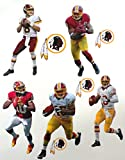 Washington Redskins Mini Fathead Team Set 5 Players + 4 Redskins Logo - Official NFL Vinyl Wall Graphics - Each Player 7'' inch