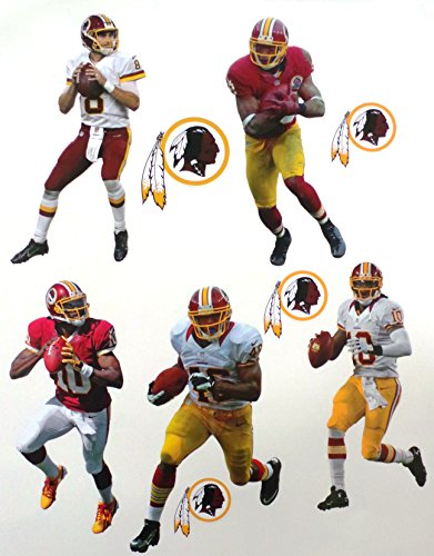 Washington Redskins Mini Fathead Team Set 5 Players + 4 Redskins Logo - Official NFL Vinyl Wall Graphics - Each Player 7'' inch by FATHEAD
