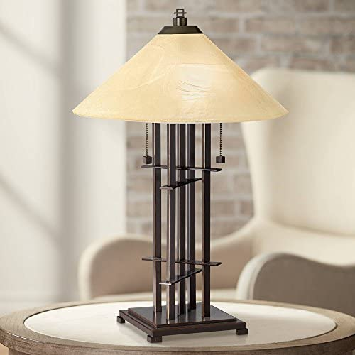 Metro Collection Planes 'n' Posts Mission Accent Table Lamp Bronze Cone Alabaster Art Glass Shade