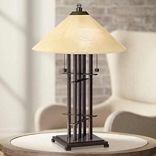 Metro Collection Planes 'n' Posts Mission Accent Table Lamp Bronze Cone Alabaster Art Glass Shade for Living Room Family Bedroom Bedside Office - Franklin Iron Works