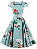 Best Luouse Gowns - KILOLONE Women's 50s Cap Sleeve Floral Rockabilly Vintage Review