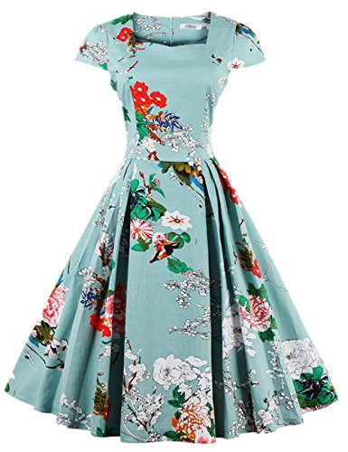 Kilolone Women's 50s Cap Sleeve Floral Rockabilly Vintage Party Evening Cocktail Dress?Green?3XL? - Plus Size Accessories