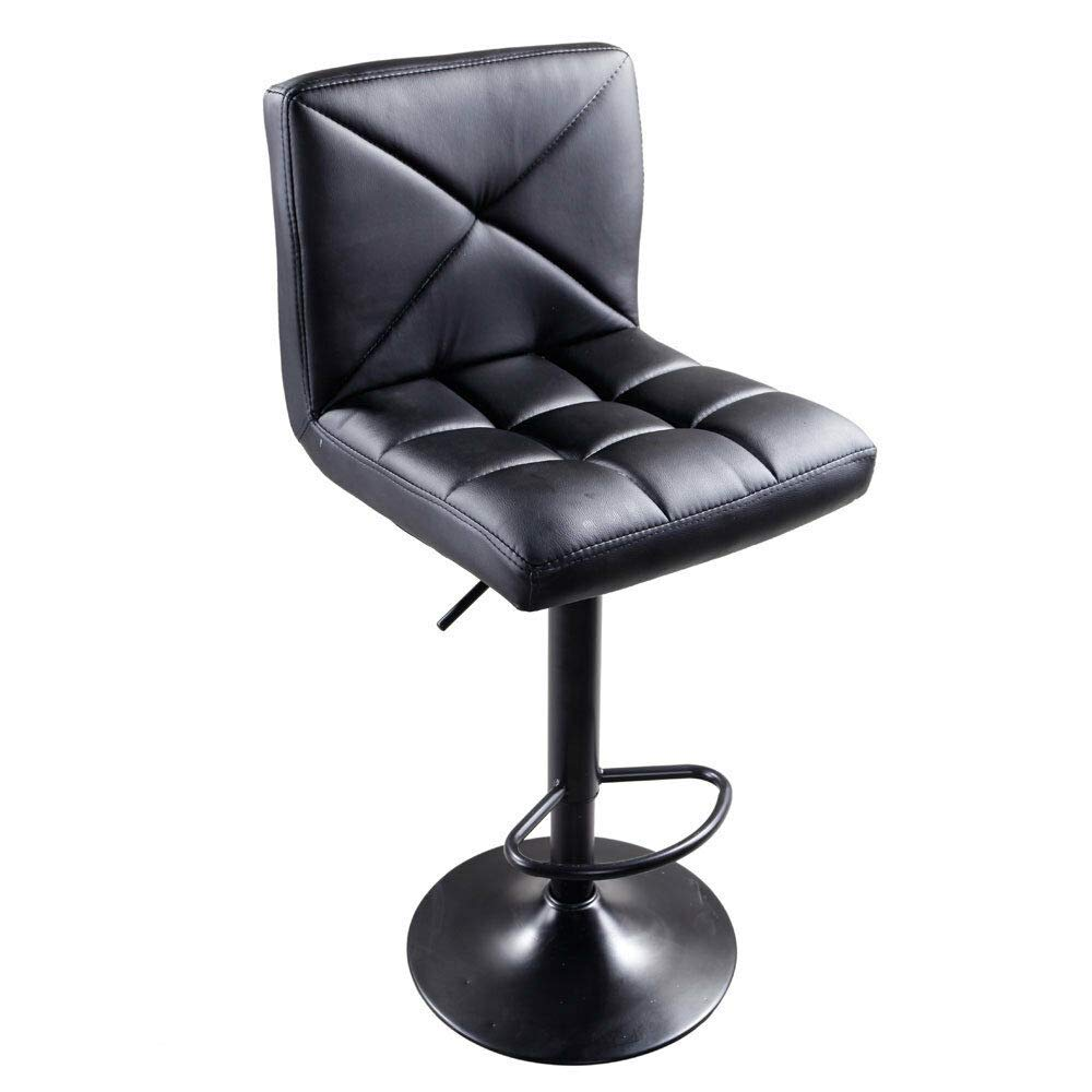 Store LLC Flexible 2 Pack PU High Strong Quality Leather Material Modern Adjustable Swivel Hydraulic Chair Bar Stools Black by Store LLC