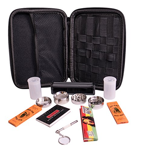 Perfect Pregame Smoker's Kit - 10 Piece Carrying Case and Accessories Bundle - Includes Grinder, Rolling Machine, Airtight Container, Rolling Papers and More - Great 420 Gift (Grinder Pipe Set)