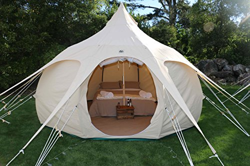 Lotus Belle 13Ft Outback Yurt Tent, Perfect For Glamping, All Seasons Canvas Made Of Heavy Duty Cotton