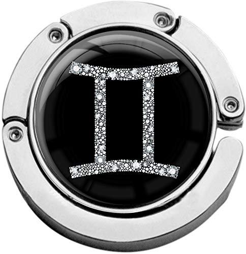 metALUm Taschenaufh/änger Handtaschenhalter Sternzeichen ZWILLING IN Silber mit faltbarem Magnetverschluss #2601073