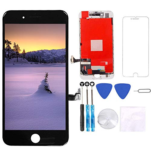 for iPhone 8 Plus Screen Replacement Black 5.5 inch - 3D Touch LCD Display & Touch Screen Digitizer Frame Assembly Set with Repair Tool Kit + Free Screen -