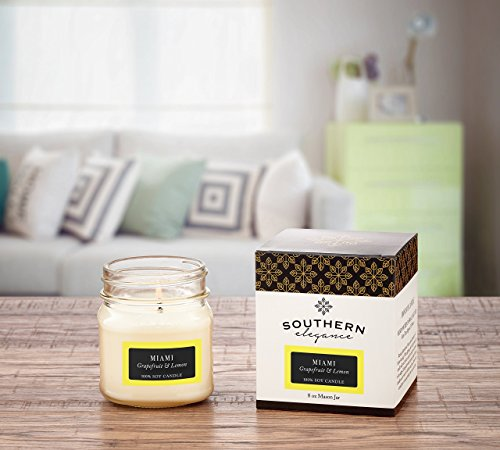 Miami: Citrus Grapefruit and Lemon Scented Soy Candle 8oz Mason Jar Southern City Collections Southern Elegance Candles ~ Made in North Carolina