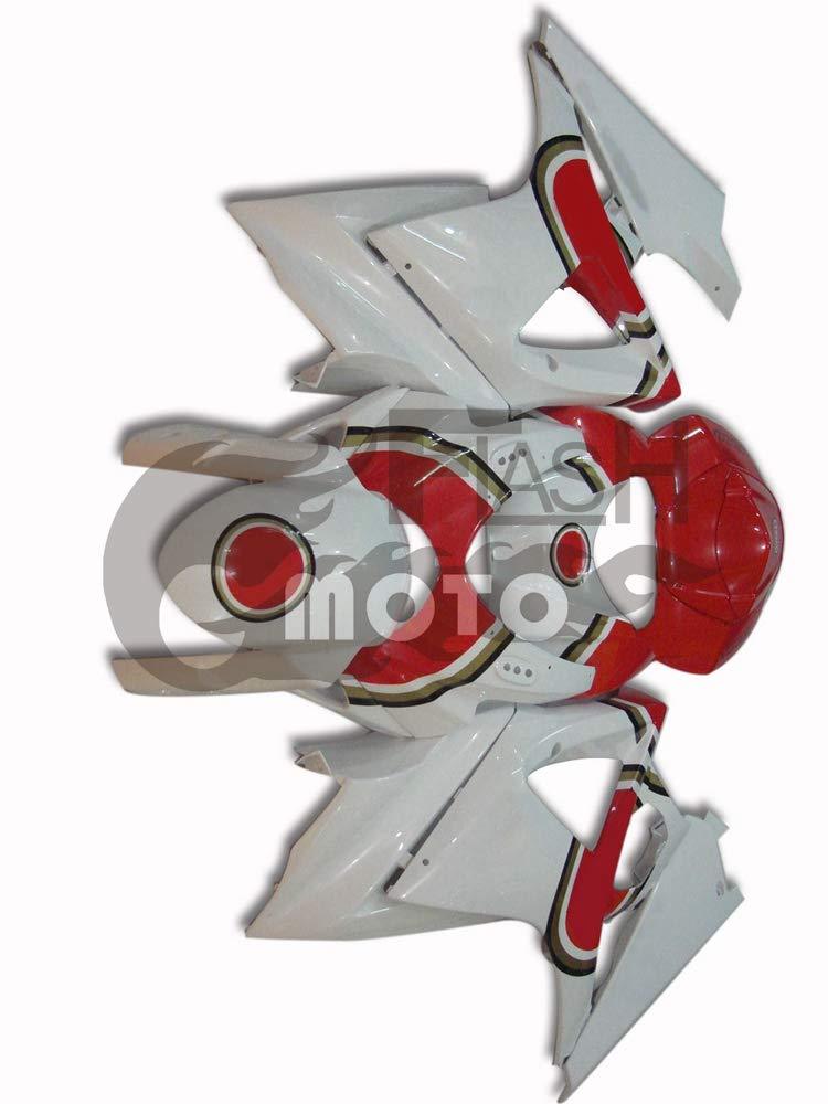 FlashMoto suzuki 鈴木 スズキ K7 GSXR1000 2007 2008用フェアリング 塗装済 オートバイ用射出成型ABS樹脂ボディワークのフェアリングキットセット (ホワイト,レッド)   B07MD5MZ52
